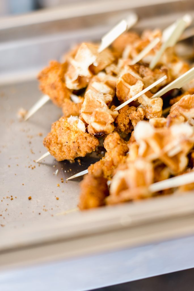 Chicken and Waffle Skewer at Wedding reception